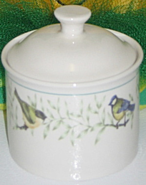 Thomson Pottery China Border Birds Leaves Sugar Bowl