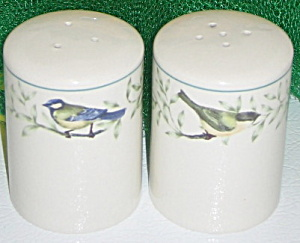 Thomson Pottery Border Birds Leaves Salt Pepper Shakers