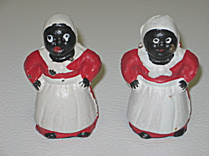 Black Americana Aunt Jemima 2 Mini Cast Iron Banks (Image1)