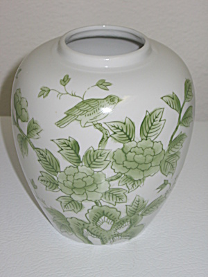 Andrea By Sadek Vase Japan Green Flowers & Bird
