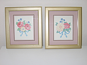 Floral Bouquet Wall Decor 2 Gold Framed Pictures 7x8