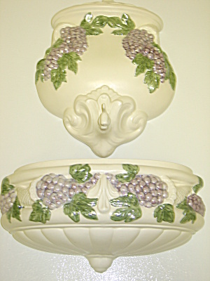 Lavabo Wall Pocket Decor Set Pearlescent Grapes Leaves