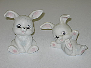 Homco Figurines 1458 Easter Bunny Rabbits Set Of 2