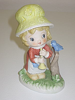 Royal Crown Yellow Bonnet Girl With Horn Figurine