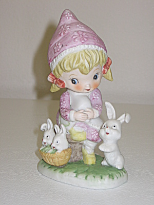 Royal Crown Pink Hat Girl Bunnies In Basket Figurine