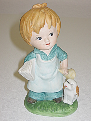 Royal Crown Boy Holding Horn & Book Puppy Dog Figurine