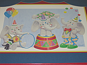 Homco Childs Picture Circus Party Elephants & Red Frame