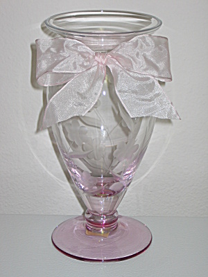 "Lenox Floral Spirit 9"" Pink Crystal Vase With Bow"