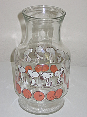Anchor Hocking Glass Juice Decanter Carafe Snoopy