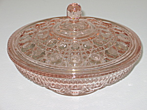 Indiana Glass Windsor Pink Covered Candy Bowl
