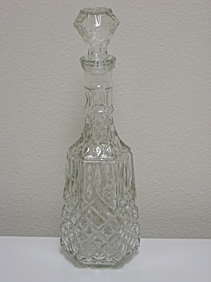 Vintage Clear Pressed Glass Decanter Bottle & Stopper (Image1)