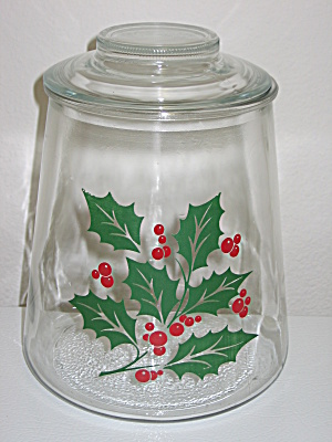 Bartlett Collins Glass Christmas Holly Cookie Jar