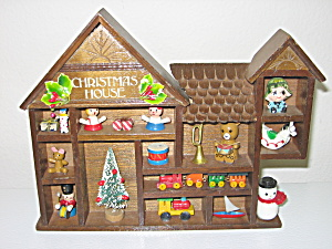 Enesco 1979 Wood Christmas House w/ Toys  (Image1)