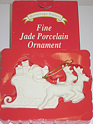 Hermitage Pottery Fine Jade Porcelain Sleigh Ornament