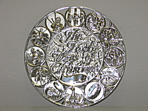 International Silver Silverplate Round Christmas Trivet