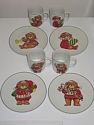 Japan Christmas Bear Dessert Snack Set Plates Mugs (Image1)