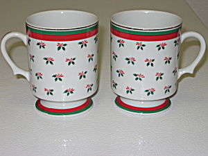 Lefton Christmas Holly 2 Footed Pedestal Mugs Cups (Image1)