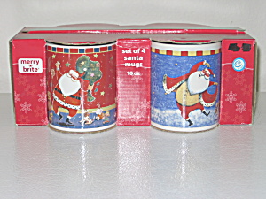 Merry Brite Giordano 4 Christmas Santa Mugs 10oz New (Image1)