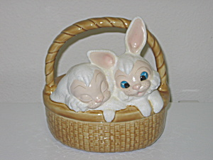 Ceramic Easter Bunny Basket Candy Dish Rabbits on Lid (Image1)