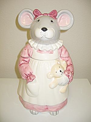 Mouse in Pink Dress & Apron Cookie Jar with Teddy Bear (Image1)
