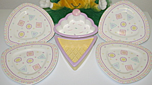 Crowning Touch Serving Dish & Triangle Dessert Plates (Image1)