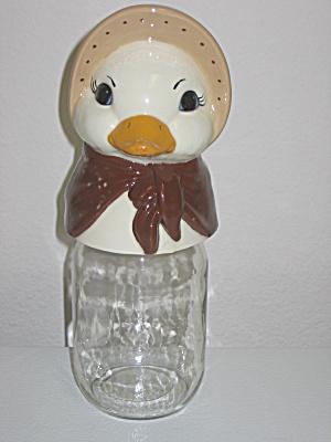 Vintage Mason Storage Jar Canister Ceramic Duck Topper (Image1)