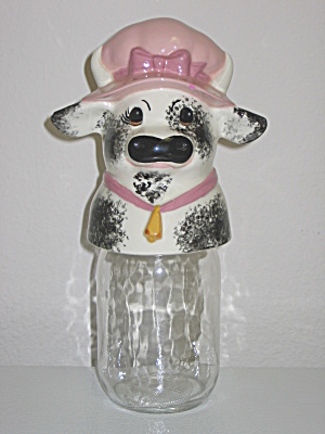 Vintage Mason Storage Jar Canister Ceramic Cow Topper (Image1)