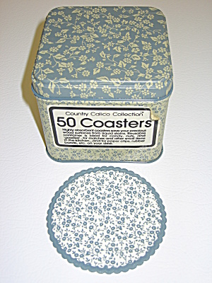 Country Calico Blue Chintz Paper Coasters & Metal Tin (Image1)