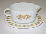 Click here to enlarge image and see more about item CDCCBG06: Corning Corelle Butterfly Gold PYREX Gravy Boat & Plate