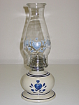 Click here to enlarge image and see more about item CDCCBH01: Corning Corelle Blue Hearts Oil Lamp Light