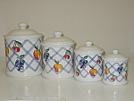 Corning Corelle Fruit Too Blue Lattice 4 Canister Set