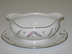 Click here to enlarge image and see more about item CDNJS04: Narumi Japan China Serenade Gravy Boat & Underplate