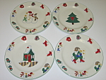 Click here to enlarge image and see more about item CDRGWW01: Ro Gregg Welcome Winter Set of 4 Salad Dessert Plates