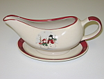 Click here to enlarge image and see more about item CDRSSRP03: Royal Seasons Snowmen Stoneware Gravy Boat & Underplate