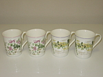 Click to view larger image of Royal Wessex Fine Bone China Petit Jardin Ivy 4 Mugs (Image1)