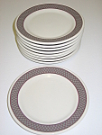 Click here to enlarge image and see more about item CDSGB01: Shenango Anchor Hocking Set of 8 Bread Plates Grey Band