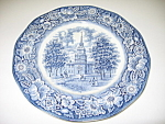 Click here to enlarge image and see more about item CDSLB01: Staffordshire Liberty Blue Independence Hall Plate