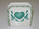 Click here to enlarge image and see more about item CDTGH01: Green Hearts Sponge Napkin Letter Holder g/w Tienshan