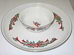 Click here to enlarge image and see more about item CDTFPR04: Tienshan Fairfield Poinsettia & Ribbons Chip & Dip Set