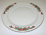 Click here to enlarge image and see more about item CDTFPR02: Tienshan Fairfield Poinsettia & Ribbons Dinner Plate