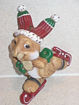 Click here to enlarge image and see more about item HSCH01: Hallmark Christmas Ornament 1983 Skating Rabbit