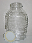 LARGE 64 oz net wt Empty Clear Glass Honey Jar w/ Lid