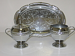 Click here to enlarge image and see more about item SPH03: Silverplate Footed Creamer & Sugar Tray Anniversary Set