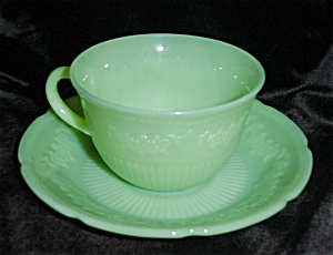 Fire King Jadite Alice Cup and Saucer (Image1)