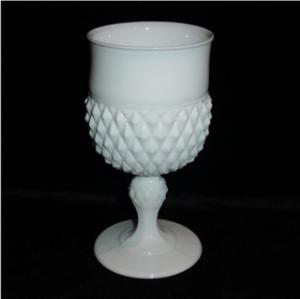 Indiana Milk Glass Diamond Point Goblet