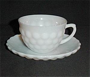 Anchor Hocking White Bubble Cup and Saucer (Image1)