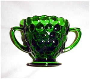 Anchor Hocking Green Bubble Sugar Bowl (Image1)