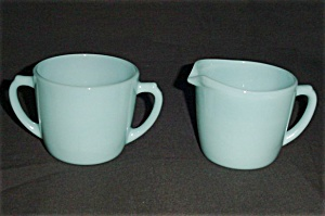 Fire King Turquoise Blue Creamer and Sugar (Image1)