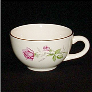 Rose Pattern Coffee Cup with Gold Trim (Image1)