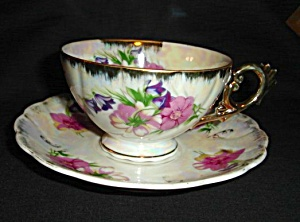 Japan Luster Floral Cup and Saucer Set (Image1)